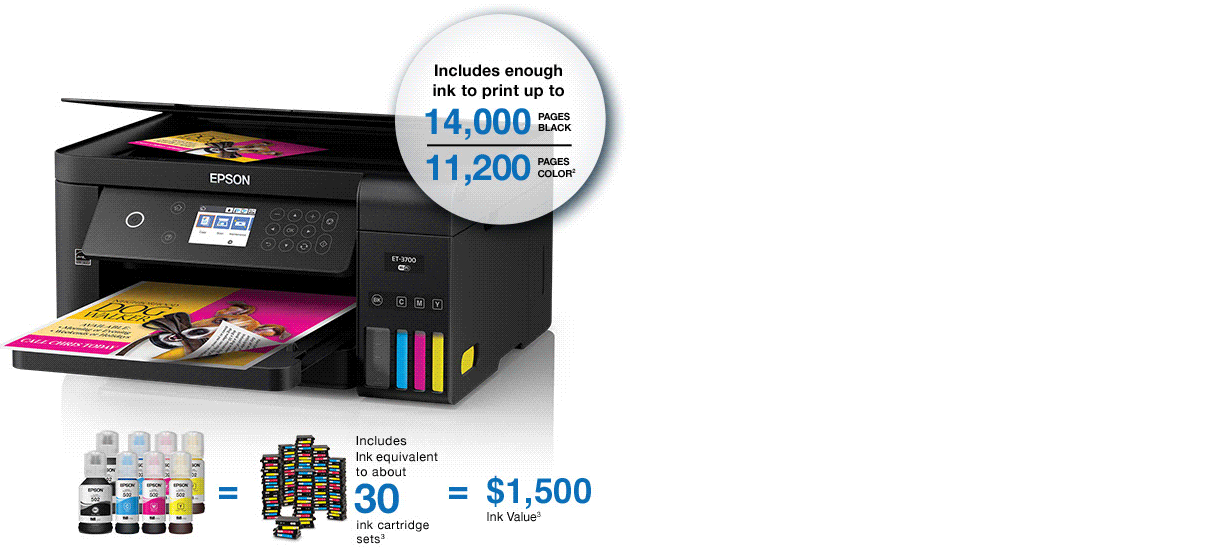 Epson Expression ET-2750. Includes enough ink to print up to 6,500 pages black and 5,200 pages color