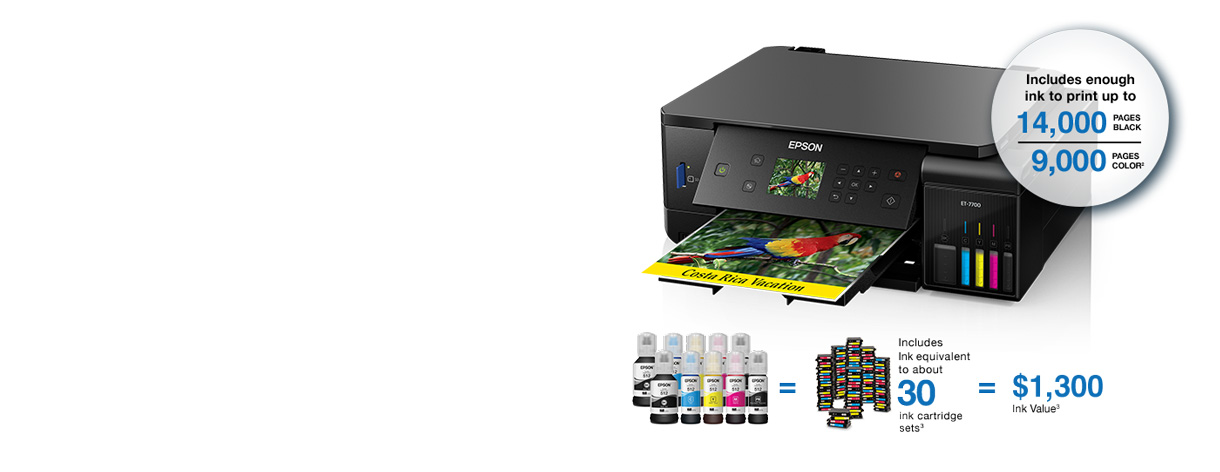 Epson Expression Premium ET-7700. Includes enough ink to print up to 14,00 pages black and 9,000 pages color