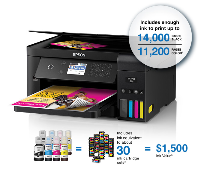 Epson Expression ET-3700. Includes enough ink to print up to 14,00 pages black and 11,200 pages color