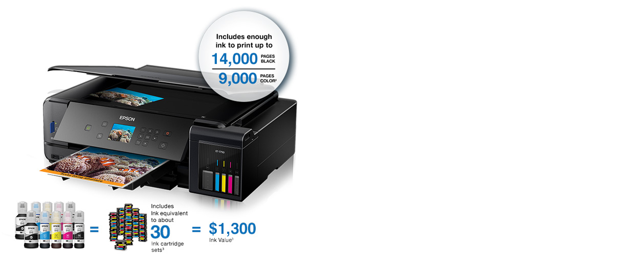 Epson Expression Premium ET-7750. Includes enough ink to print up to 14,000 pages black and 9,000 pages color