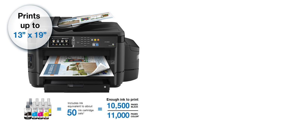 Epson WorkForce ET-16500 Printer. Prints up to 13 inches x 19 inches