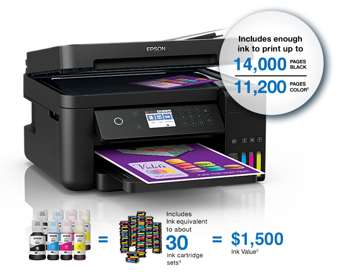 Epson WorkForce ET-3750. Includes enough ink to print up to 14,000 black and 11,200 pages color.