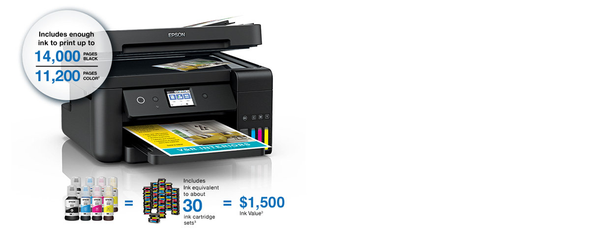 Epson WorkForce ET-4750. Includes enough ink to print up to 14,000 pages black and 11,200 pages color