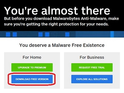 Malwarebytes web page, For Home, DOWNLOAD FREE VERSION button
