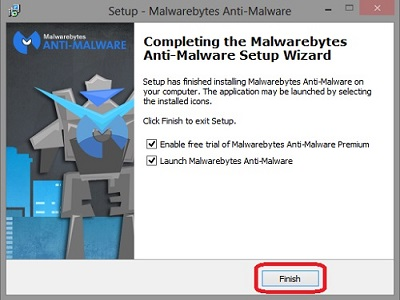 Malwarebytes setup process, finish