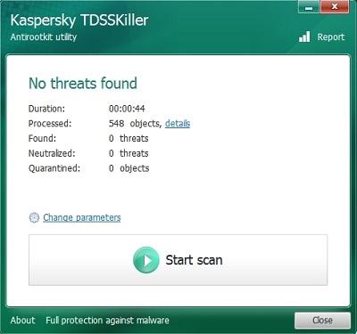 Kaspersky TDSSKiller, Scan Results