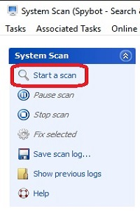 Spybot Program Menu, Start a scan