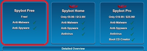Spybot Free highlighted in choices