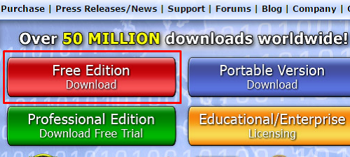 SUPERAntiSpyware Website Free Edition Download Button