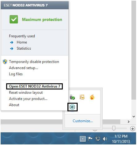 ESET taskbar icon opens program