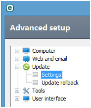 ESET Advanced setup, settings