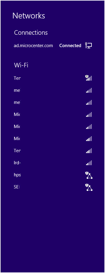 Windows 8 Available WiFi Networks