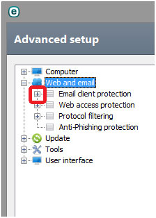 advanced setup web and email client protection