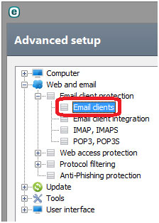 advanced setup web and email email client protection email clients