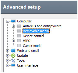 ESET Advanced setup menu, Removable media