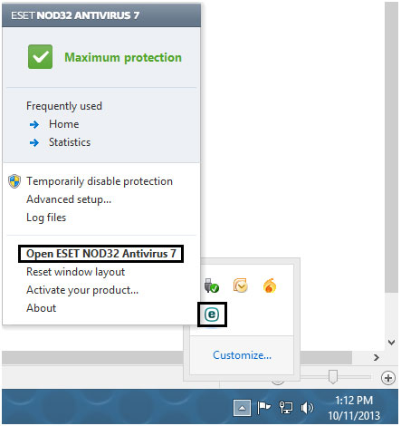 ESET taskbar icon opens program menu