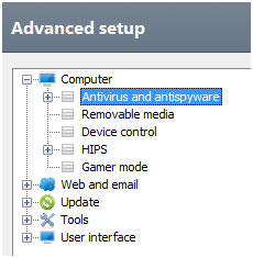 ESET Advanced setup menu, Antivirus and antispyware