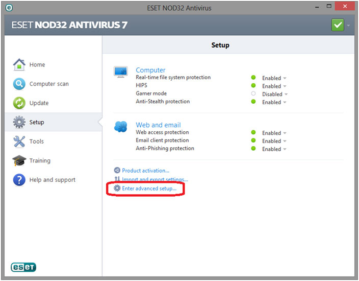 ESET advanced setup menu