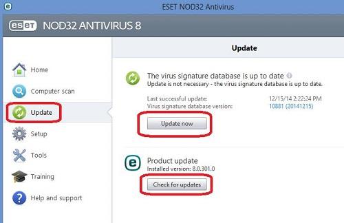 ESET Update, Check Updates