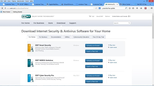 ESET Download Page in browser