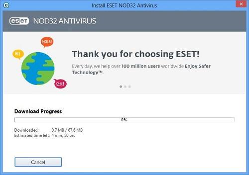 ESET Setup Screen, Download Progress