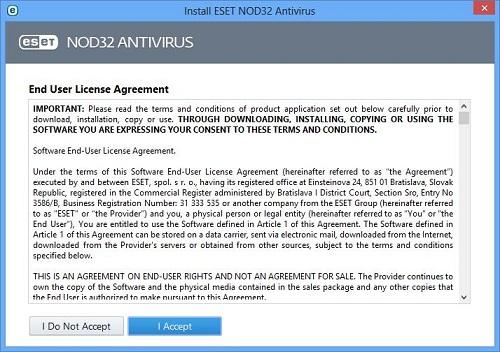 ESET Setup Screen, License Agreement