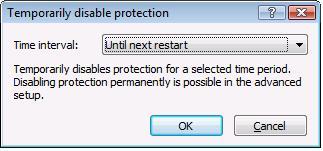 ESET Temporarily Disable Protection, OK