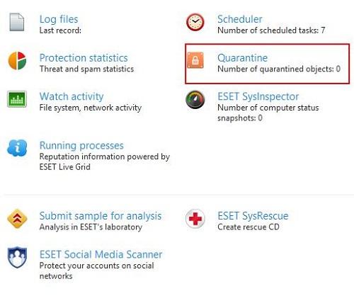 ESET Tools, Quarantine