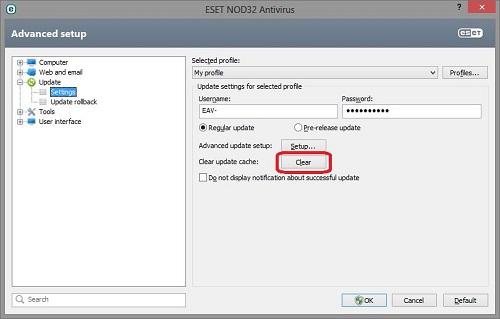 ESET Update Settings, Clear Update Cache