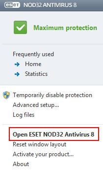 ESET Icon Program Options Menu