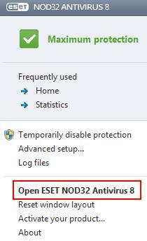 ESET Icon Program Options