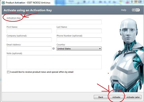 ESET Activation Entry Form
