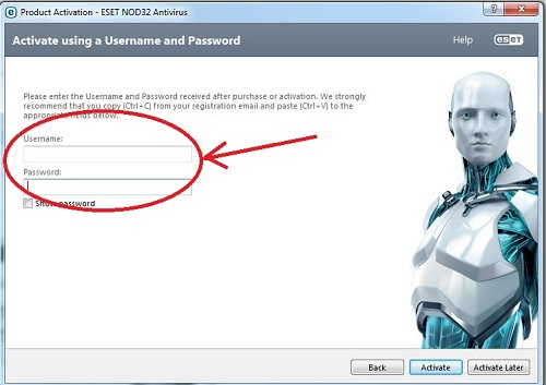 ESET Username and Password entry