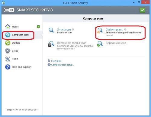 ESET Home Screen, Computer Scan, Custom Scan