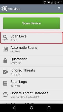 ESET Antivirus, Scan Level