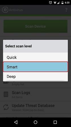 ESET Antivirus, Scan Level, Smart