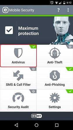 ESET Mobile Security, Antivirus