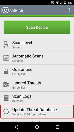 ESET Antivirus, Update Threat Database