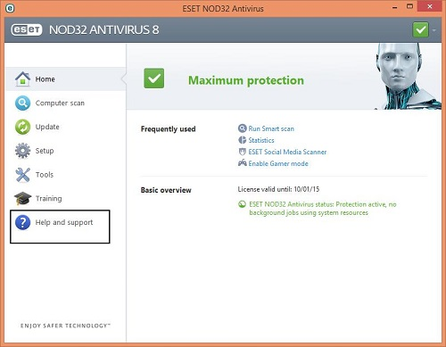 ESET Home Screen, Help and Support