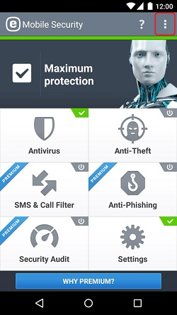 ESET Mobile Security, Three Dots Menu