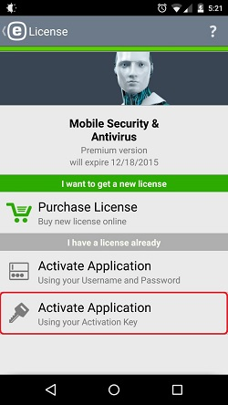 ESET Mobile Security, Activate