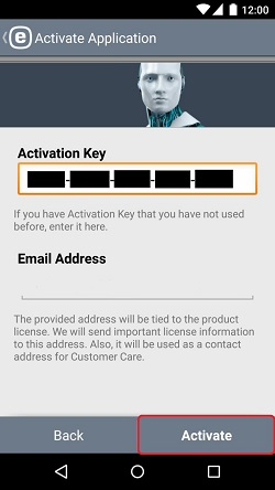 ESET Mobile Security, Activation Key Entry