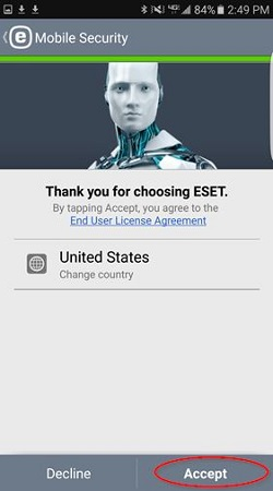 ESET install, country select