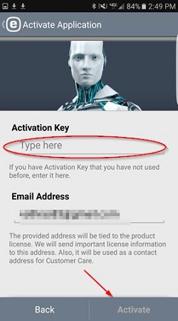 ESET activation, enter key
