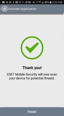 ESET activation successful, finish