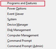 Windows Menu, Programs and Features