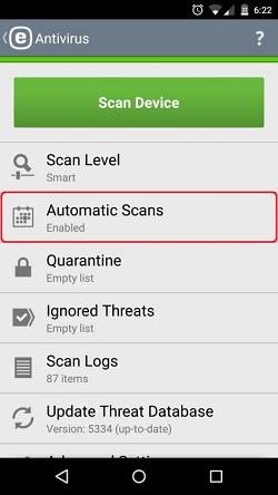 ESET Mobile Antivirus, Automatic Scans