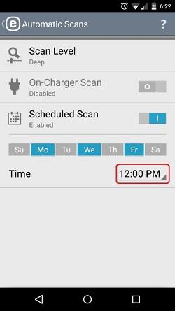 ESET Automatic Scan, Set Time