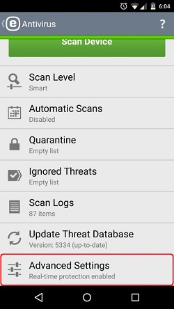 ESET Antivirus, Advanced Settings