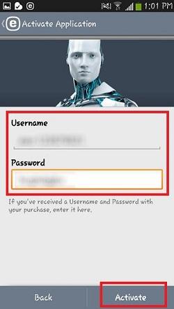 ESET Activation, Username, Password